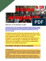 Noticias uruguayas miércoles  21 de diciembre de 2011