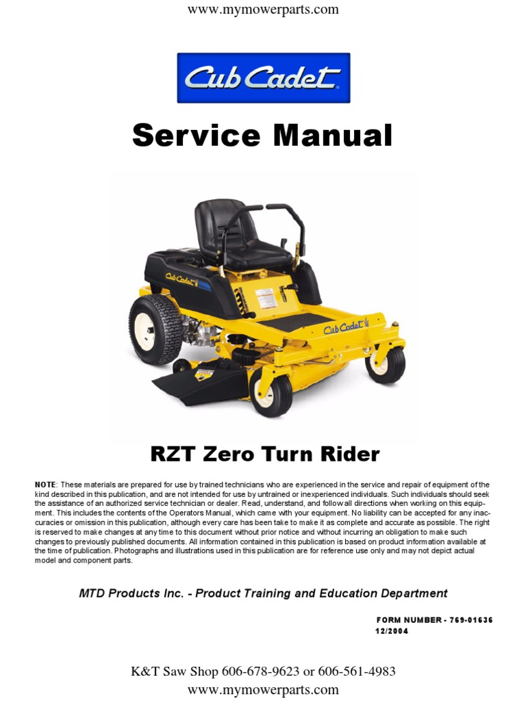 Cub Cadet Rzt Series Zero Turn Service Repair Manual 1