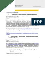 Resumen de actividades de la Alianza Regional