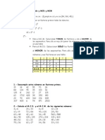 Ejercicios Descomposición y MCD y MCM