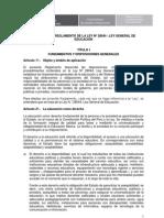PROYECTO DE REGLAMENTO DE LA LEY Nº 28044 - LEY GENERAL DE EDUCACIÓN