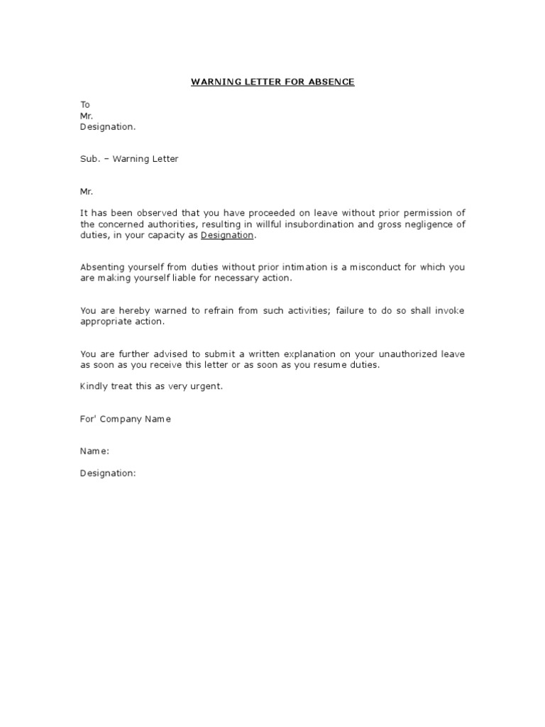 Sample warning letter for employee tardiness best photos for Letter of reprimand template