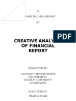 Summar Training Report - Financial Statment Analysis