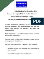 Conseil municipal du jeudi 15 décembre 2011