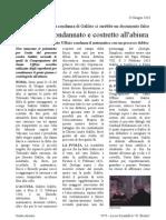 Articolo di giornale - Cronaca del processo di Galilei