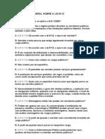 QUESTIONÁRIO GERAL SOBRE A LEI 8112