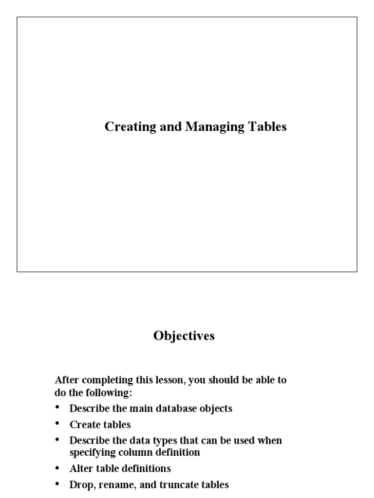 e computer notes - Creating and Managing Tables | Table (Database) | Oracle Database  sc 1 st  Scribd & e computer notes - Creating and Managing Tables | Table (Database ...