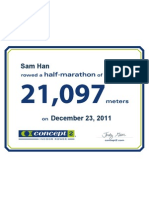 Concept2 2011 December 23 Half Marathon Certificate