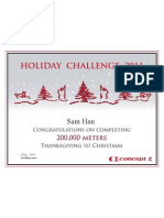 Concept2 2011 Holiday Challenge 200K Certificate
