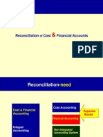 Reconciliation of Cost Financial Costing