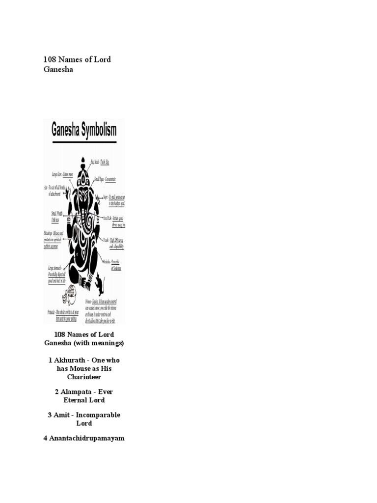 108 names of lord ganesha hindu mythology hindu deities buycottarizona