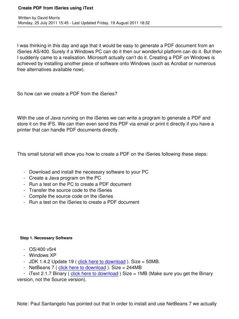 62 Create PDF From Iseries Using Itext | Microsoft Windows | Java  (Programming Language)