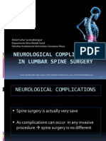 Neurological Complications in Lumbar Spine Surgery