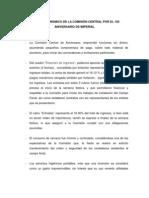 INFORME ECONÓMICO DE LA COMISIÓN CENTRAL POR EL 102 ANIVERSARIO DE IMPERIAL