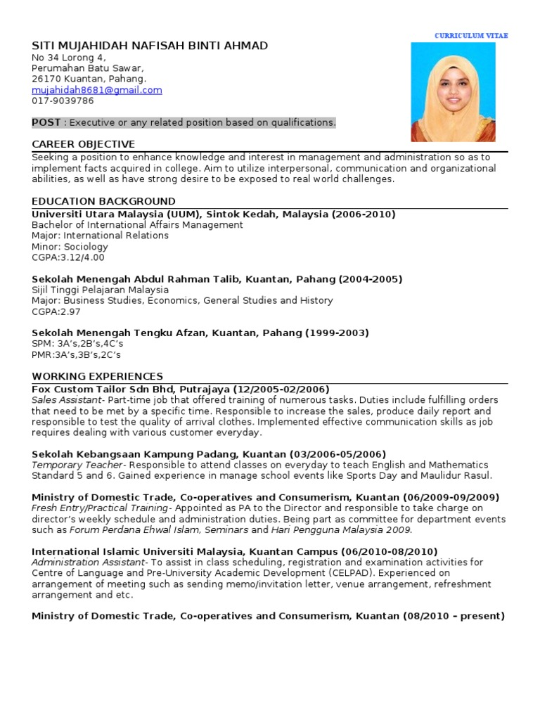 my resume malaysia further education