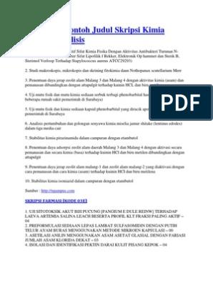 18 Mar 09 Contoh Judul Skripsi Kimia Farmasi Analisis