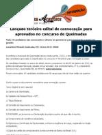 Lançado terceiro edital de convocação para aprovados no concurso de Queimadas