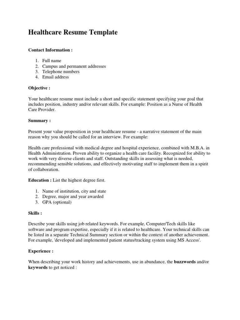 Healthcare Resume Template | Résumé | Health Professional
