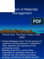 Evolution of Materials Management