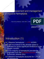 Clinical Assessment and Management of Massive Hemoptysis