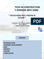 Tolled Road - Past, Present & Future