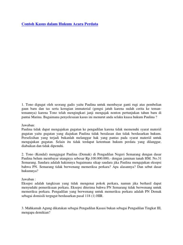 Contoh Kasus Dalam Hukum Acara Perdata