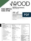 KDCX859 Kenwood User Manual
