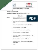 PROGRAMA CLAUSURA DE COMITÉ DE ARTE Y CULTURA