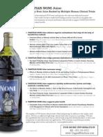 Tahitian Noni Juice Human Clinical Trials