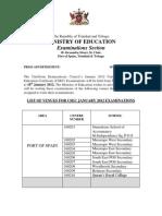News Rel List of Venues for CSEC Jan 2012 Examinations