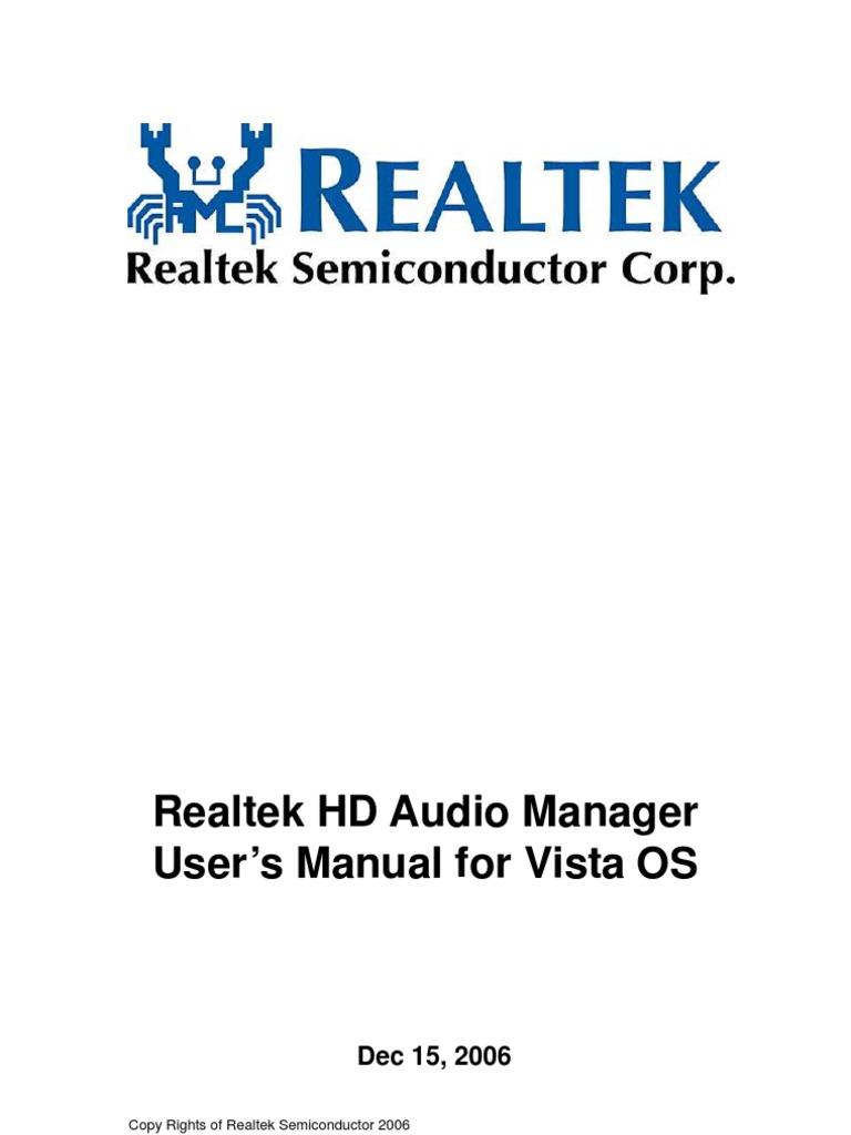 Realtek HD Audio Manager User's Manual for Vista OS: Copy