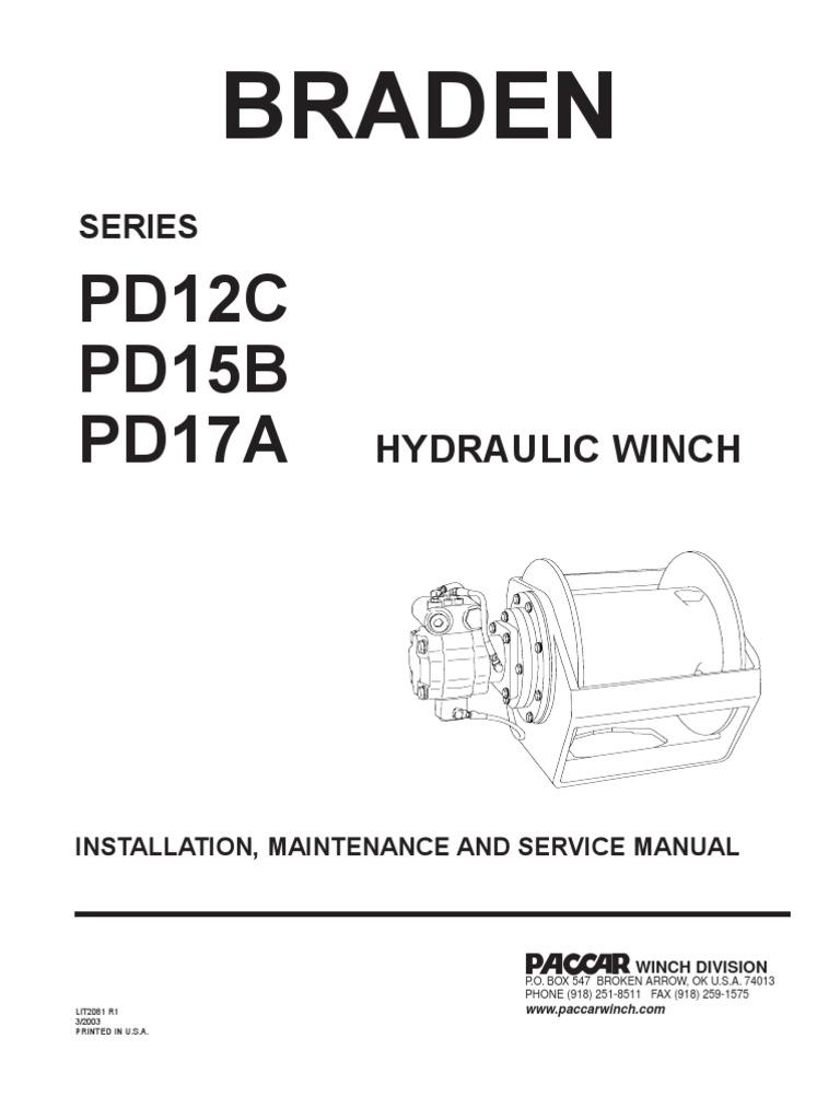installation, maintenaince and service braden pd15b,pd12c,pd17a | brake |  clutch
