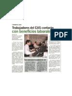Trabajadores del CAS contarán con beneficios laborales