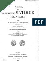 Manuel de numismatique française. T. IV
