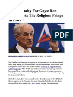 Death Penalty for Gays - Ron Paul Courts the Religious Fringe in Iowa