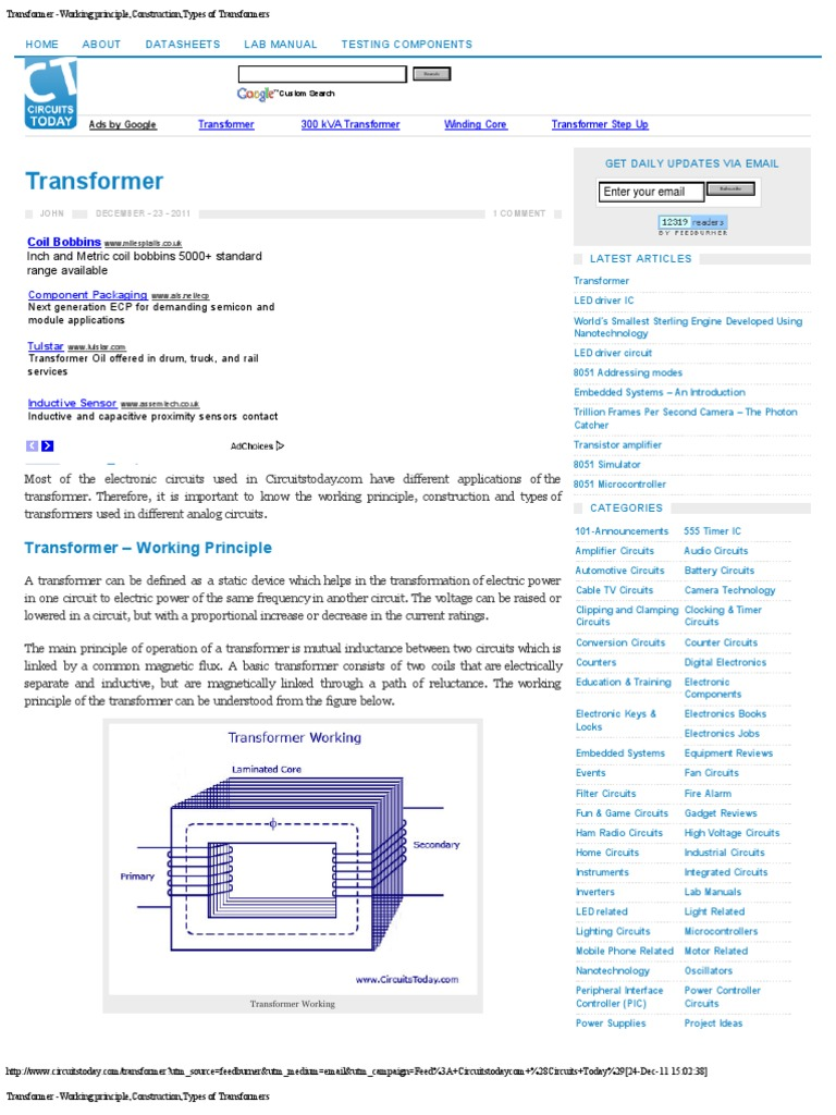 Transformer Working Principleconstructiontypes Of Transformers Digital Clock Integrated Circuit Diagram Amplifiercircuits Electromagnetic Induction