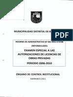 EXAMEN ESPECIAL A LAS AUTORIZACIONES DE LICENCIAS DE OBRAS PRIVADAS - Período 2006 - 2010