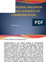 Interpersonal and Inter- Cultural Elements of Communication