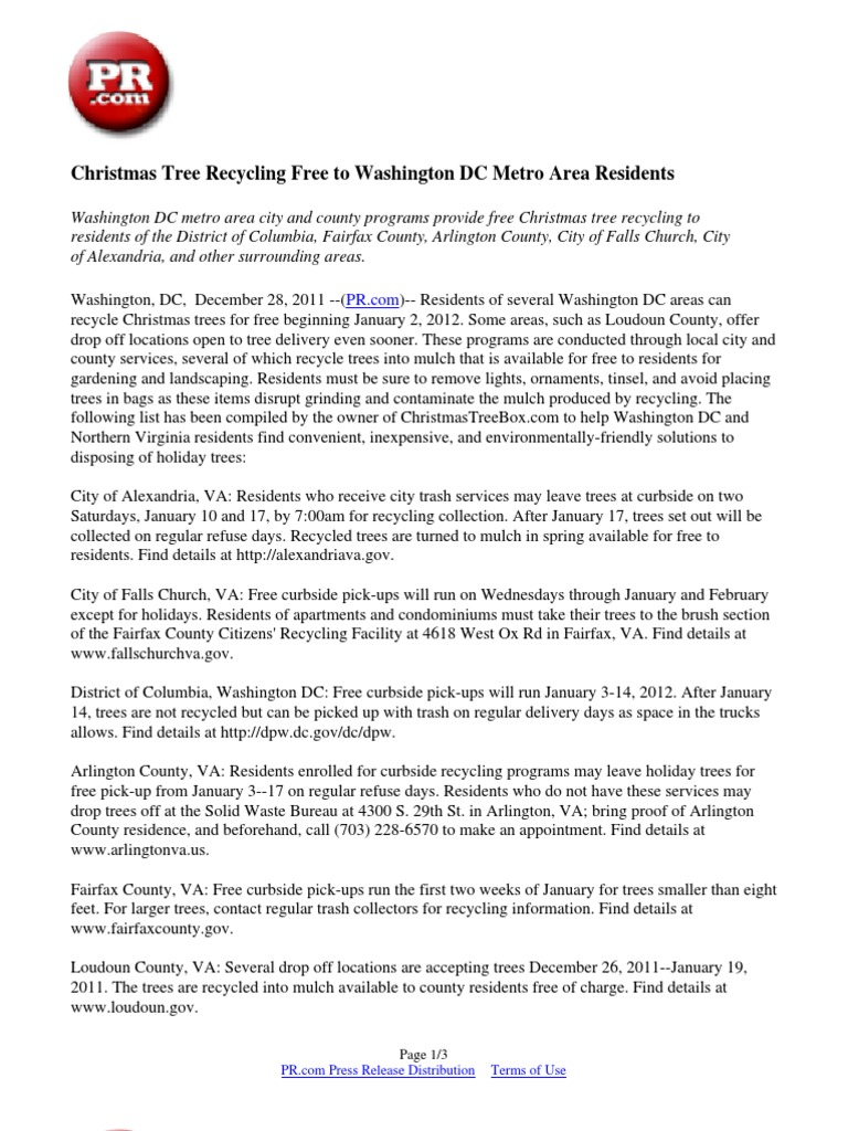 Free Christmas Tree Pick Up Part - 37: Exceptional Christmas Tree Pick Up Dc Part - 5: Christmas Tree Recycling  Free To Washington