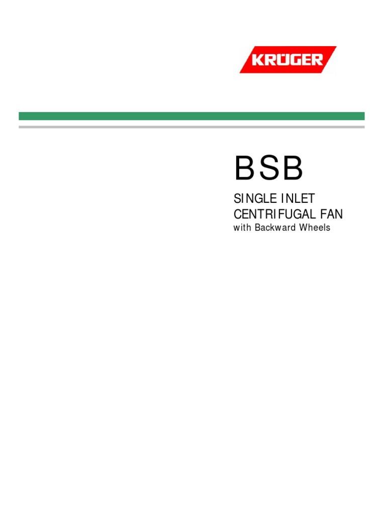 Kruger - Bsb Series Catalogue | Mechanical Fan | Applied And