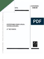 COVENIN 1040-89. (EXTINTORES PORTATILES). GENERALIDADES
