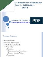 Lecture 3 - Sensation & Perception