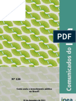 Ipea analisa o investimento público no Brasil desde 1995