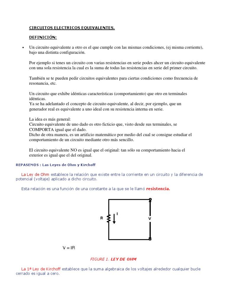 Circuito Sencillo : Circuitos electricos equivalentes