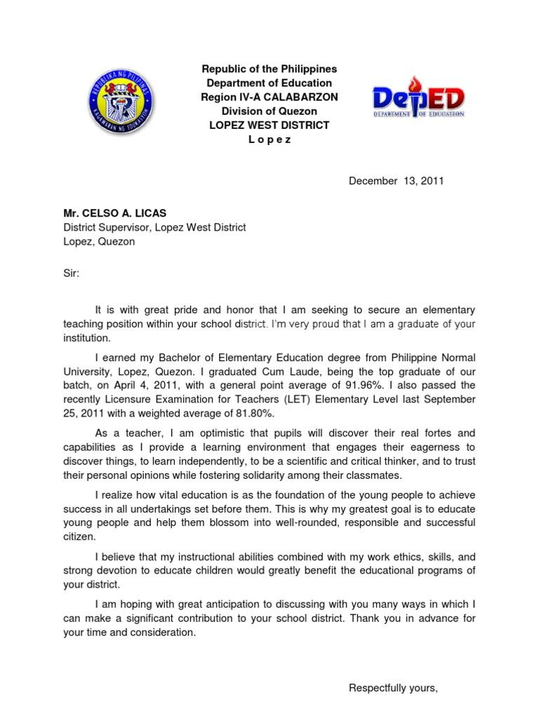1498729182 Sample Application Letter For Teachers Postion on