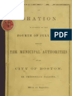 Theophilus Parsons an ORATION Delivered on the Fourth of July 1861 CITY of BOSTON 1861