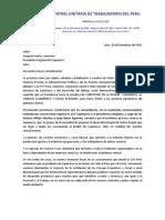 Carta CUT a Gregorio Santos Presidente Regional Cajamarca