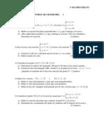 examen geometria 2º bachillerato