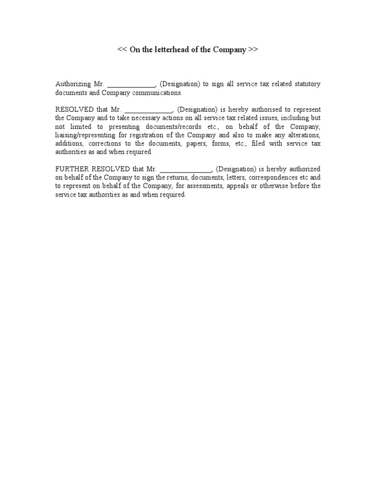 Board resolution format 1 for Corporate resolution authorized signers template