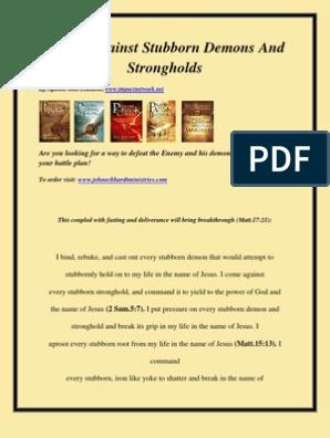 Prayer Against Stubborn Demons and Strongholds | Deliverance